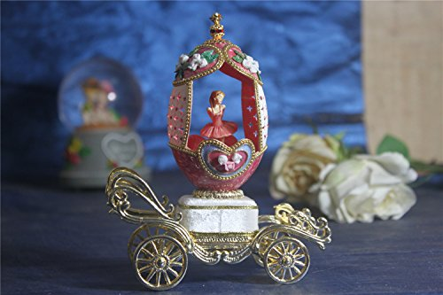Music Box For Girls Easter Egg Artists Musicbox Eggshell Art Music Box Ballerina Dance Ballet on Red Heart Carriage by Biscount