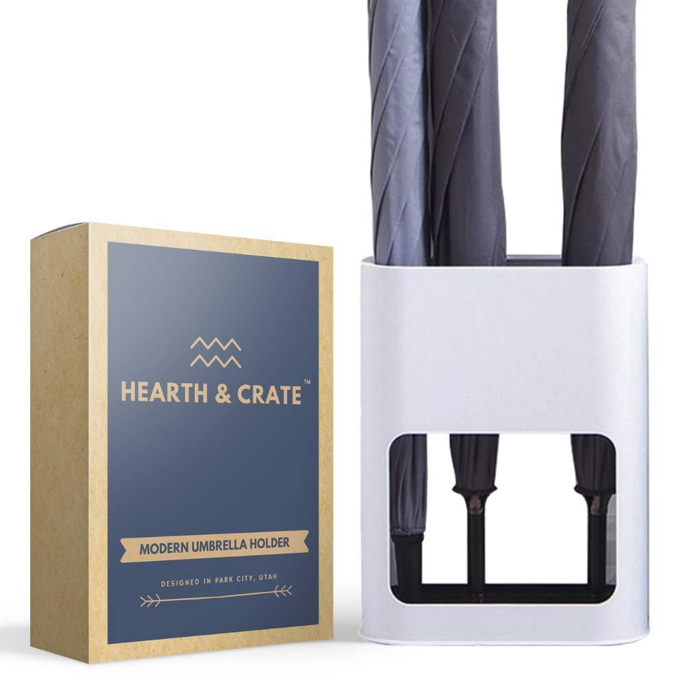Hearth & Crate Umbrella Holder - Umbrella Stand Indoor for Modern Entryway Decor - Umbrella Rack (Small) - Umbrella Holders for Home - Plastic Umbrella Container Storage - Cane Basket (White)