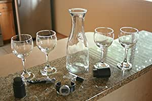 Red Wine Set for Four By Wine O' Mine Red Wine Glasses Glass Wine Decanter and Wine Tools (10 Piece Set)