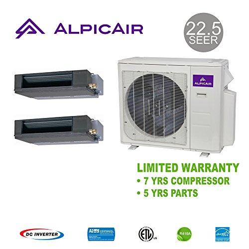 AlpicAir +Multi Dual-Zone 36,000 BTU Concealed Duct Heat Pump System (18k+18k)