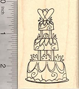 Wedding cake rubber stamp three tiers arts for Rubber stamps arts and crafts