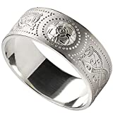 Men's Celtic Warrior Shield Wide Sterling Silver Wedding Band