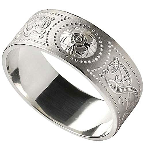 Men's Celtic Warrior Shield Wide Sterling Silver Wedding Band by Boru