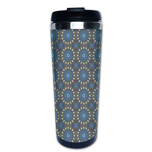 Stainless Steel Insulated Coffee Travel Mug,Inspired Circular Motifs Ethnic Antique,Pale Blue,Spill Proof Flip Lid Insulated Coffee cup Keeps Hot or Cold 13.6oz(400 ml) Customizable printing