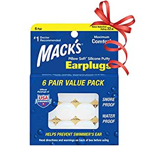 Mack's Pillow Soft Silicone Earplugs - 6 Pair, Value Pack - The Original Moldable Silicone Putty Ear Plugs for Sleeping, Snoring, Swimming, Travel, Concerts and Studying