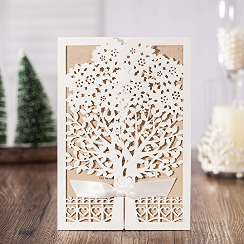 WISHMADE 50 White Laser Cut Wedding Invites With Tree and Fence Design Kit, Invitations with envelopes for Engagement Graduation Birthday Party Dinner Quincenera Paraboda