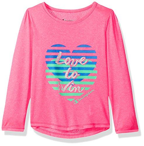 Champion Little Girls' Performance Active Long Sleeve Raglan Tee, Pink Glow, 5