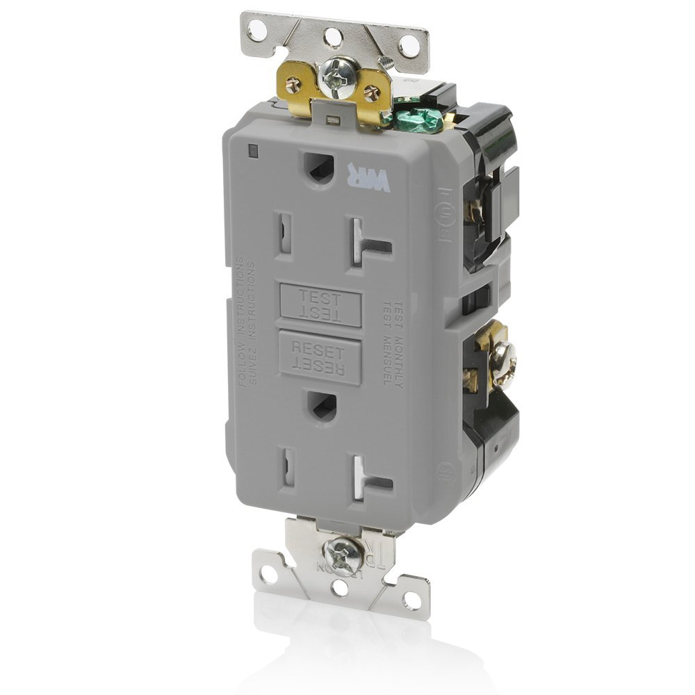 Leviton G5362-WTG 20A-125V Extra-Heavy Duty Industrial Grade Weather/Tamper-Resistant Duplex Self-Test GFCI Receptacle, Gray, 20-Amp