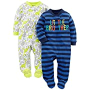 Simple Joys by Carter's Baby Boys 2-Pack Fleece Footed Sleep and Play, Little Brother/Dino, Preemie