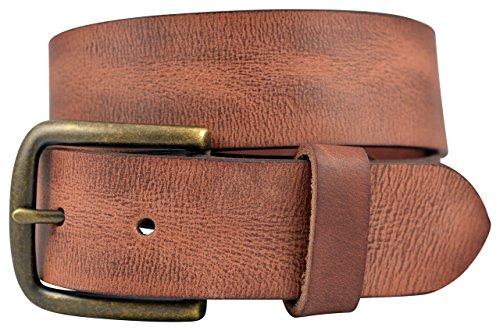 TheBeltShoppe.com Vintage Full Grain Buffalo Leather Solid 1-Piece Belt w/ Brass Buckle - Cognac (Tan) - Cognac Belt Vintage