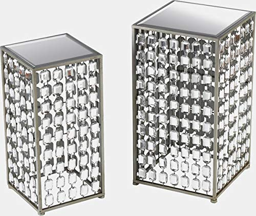 Steel Base End Table - End Table with Mirrored Top - Set of 2 - Silver