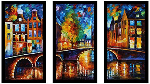 Picture Perfect International Leonid Afremov The Bridges of Amsterdam Framed Plexiglass Art Set of 3 Wall-Decor 17.5