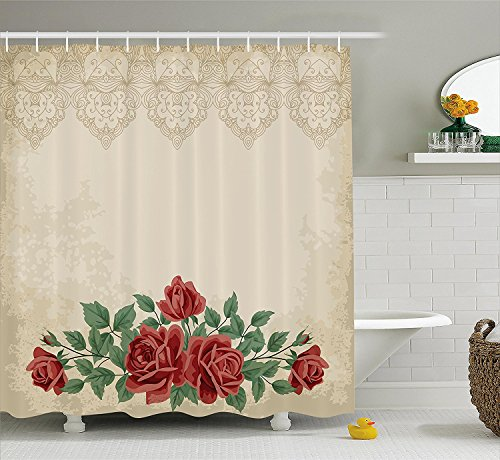 Shabby Chic Shower Curtain Vintage Glamour Background with Red Rose Love and Attraction Symbol Delicacy Fabric Bathroom Decor Set with Hooks Beige (Vintage Glamour Costumes)