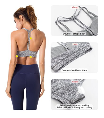 08155d0f7d721 Queenie Ke Women s Light Support Cross Back Wirefree Pad Yoga Sports Bra  Size S Color Light