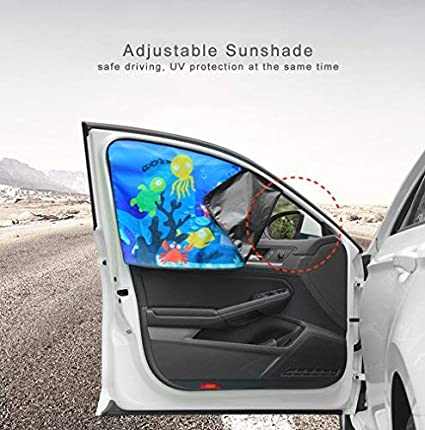FancyAuto Car Sunshade Side Window Magnet Automatic Scaling Cartoon Shade Cloth Car Curtain Summer Sun Protection Windscreen Anti-UV Block UV Rays Sunshade For Kid and Pets Back Seat Side*1PC