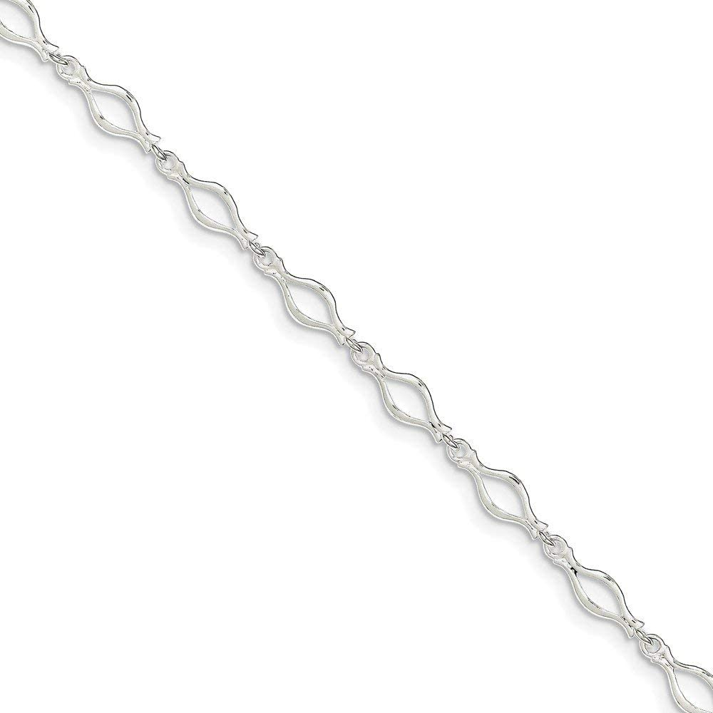 Sterling Silver 10inch Solid Polished Fancy Link