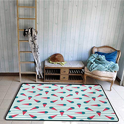 Non-Slip Floor mat,Scandinavian Design Cartoon Cones with Geometrical Toppings on Stripes 4'x6',Can be Used for Floor Decoration by BarronTextile (Image #1)