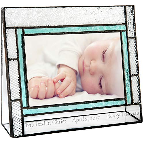 - J Devlin Pic 382-46H EP584 Personalized Baptism Picture Frame Engraved Glass 4 x 6 Photo Keepsake Gift