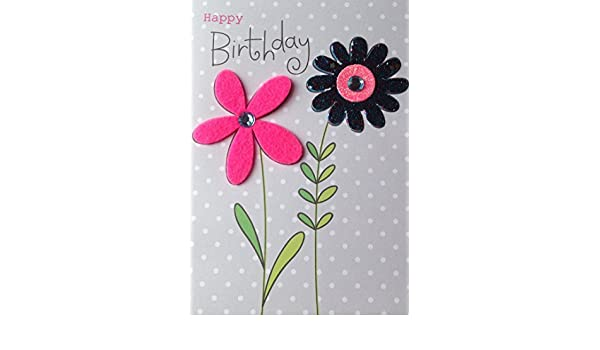 Flowers Happy Birthday Embellished Greeting Card Hand-Finished Colour Mania Card