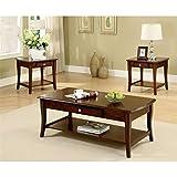 Cheap Furniture of America 3-Piece Lensar Table Set, Dark Oak Finish