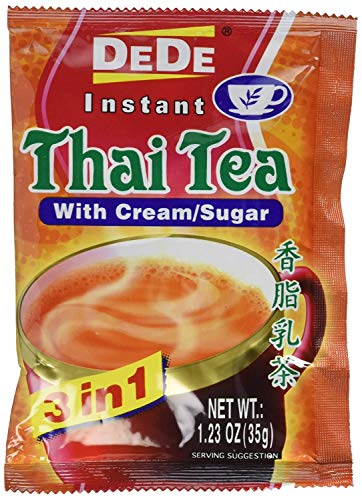 DEDE Instant Thai Tea Drink with Cream and Sugar (24 packets (1.23 Oz each))