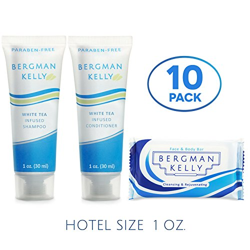 BERGMAN KELLY Soap Bars, Shampoo and Conditioner 3-Piece Travel Amenities Hotel Toiletries In Bulk Guest Size Bottles and Bars (Hotel Size 1 Oz, 10 Pack)
