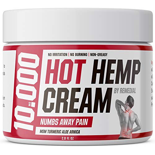 Hot Hemp Cream - 10000MG - Arthritis, Carpal Tunnel, Inflammation, Back, Foot, Nerve, Joint, Muscle, Neck Pain, Natural Stress Relief - MSM, Turmeric, Aloe, Arnica - Warming Topical Salve