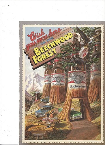 Post Card **PRINT AD** For 1986 Budweiser Beer Beechwood Forest -