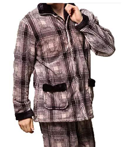 Dormir Pijamas Domicilio Cálido Invierno Larga Solapa Hombres Conjuntos Servicio Cachemira Cómodo Gris De A Dos Ropa Los Hogar Coral Manga Battercake BadqPB