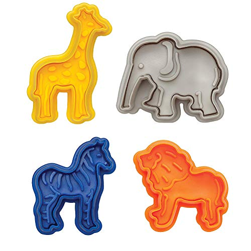 Vpang 4 Pcs Animal Cracker Cookie Cutters Set Pastry Cookie Fondant Stamper Mould with Lion, Elephant, Zebra and Giraffe -