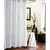 Tahari Fabric Shower Curtain Beige Taupe Scroll Pattern on White