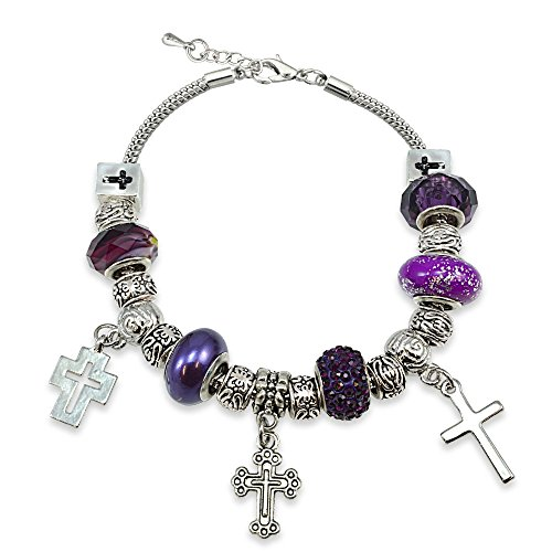 Bria Lou Silver Flashed Purple Crystal & Glass Cross Charm Snake Chain Bracelet, 7.5+3