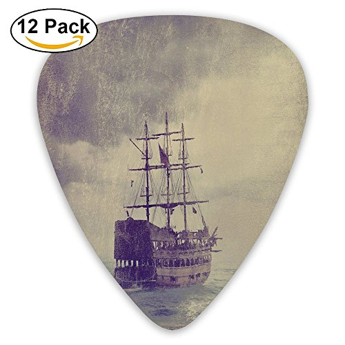 Newfood Ss Old Pirate Ship In The Sea Historic Legend Cruise Retro Voyage Grunge Style Guitar Picks 12/Pack Set