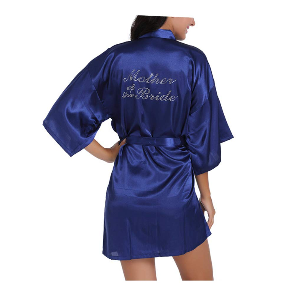 Morbuy Damen Braut Brautjungfer Robe Pure Farbe Satin Weiche Kimono Hochzeitsfeier Robe Silk Kleid Morgenmantel