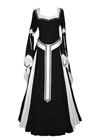 6fe4af42617 Amazon.com  Misassy Womens Medieval Dress Renaissance Costumes Irish Over  Long Dress Cosplay Retro Gown  Clothing