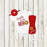 Hero Fireman Baby Girl Outfit - Customize To Say Daddy, Mommy, Grandpa, Grandma, Uncle or Aunt