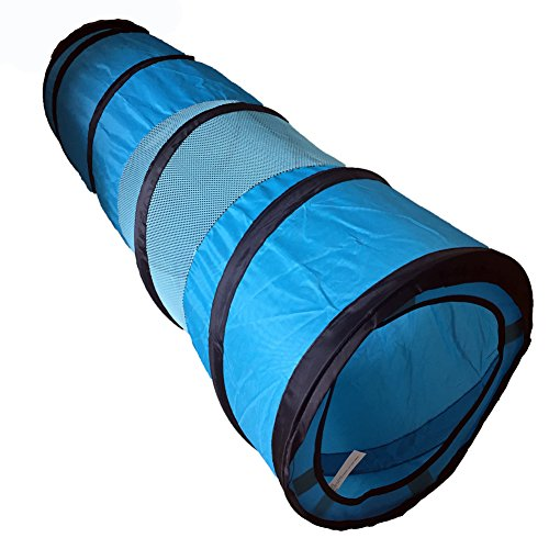 WATFOON Collapsible Cat Tunnel Crackle Chute Cat Toy,34inch POP-UP Play Tunnel for Cats (Blue)