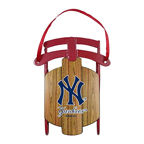 Boelter Brands MLB New York Yankees Metal Sled Ornament,3.5-Inch,Brown