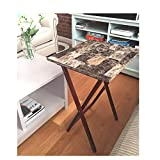 Marble Tray Table Set of 4 with Stand Luxury Portable Laptop Rustic Farmhouse Foldable Artificial & eBook