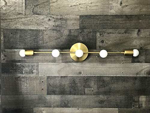 Modern Gold Raw Brass Wall Sconce Vanity 5 Bulb Abstract Mid Century Industrial Art Bathroom Light ()