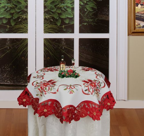 Creative Linens Holiday Christmas Embroidered Poinsettia Candle Bell Tablecloth 34