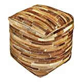 Hair Hide Patchwork Leather Cube Pouf | Brown Strips Ranch Lodge Seat Square