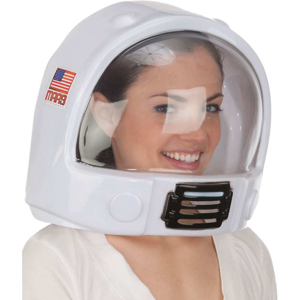 Jacobson Hat Company Adult Toy Space Helmet NASA Astronaut Hat Mask Plastic Costume Accessory,White,One Size J Hats 25840