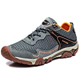 FLARUT Hiking Shoes for Men Outdoor Sports Backpacking Boots Breathable No-Slip Sneakers for Trekking Walking Mountaineering Fishing Climbing Hunting Running(A-Grey,EU45)
