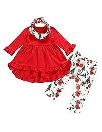 LIKESIDE Baby Girls Christmas Xmas Deers Print Dresses Pant Outfits Clothing Set