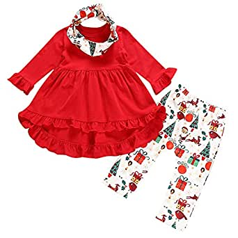 Pant Sets Baby Girls Infant Toddler Baby Girls Christmas Clothes Outfits Set 6M-4T ❤️ 3Pcs Kids Floral Print Drees Pants Headband