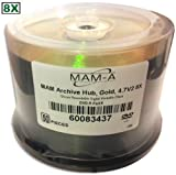 4.7 GB MAM-A (Mitsui) GOLD 8X DVD-R's (Archival-grade) 50-Pak in Cakebox