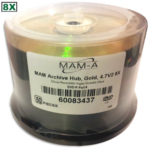 4.7 GB MAM-A (Mitsui) GOLD 8X DVD-R's (Archival-grade) 50-Pak in Cakebox by MAM-A