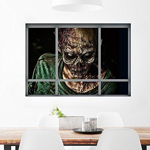 Kmmk 3D falso creativo ventana pared pegatina Halloween Zombie etiqueta salón dormitorio decoración estéreo]()