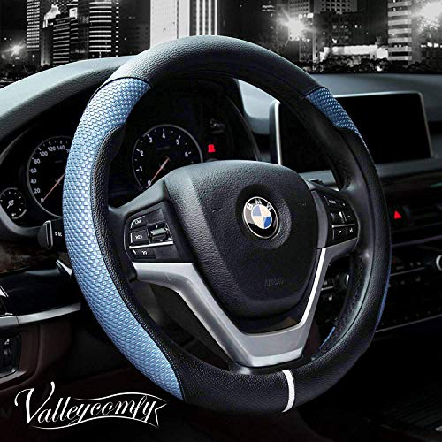 Valleycomfy Steering Wheel Cover with Microfiber Leather for Car Truck SUV 15 inch (Style-Blue) (2018 Mustang Gt Wheels)